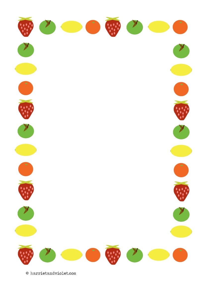 Fruit Page Border Paper A4 Portrait Free Teaching