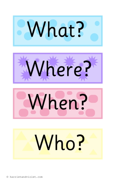 Question Words P on Create A Number Line Flash Cards