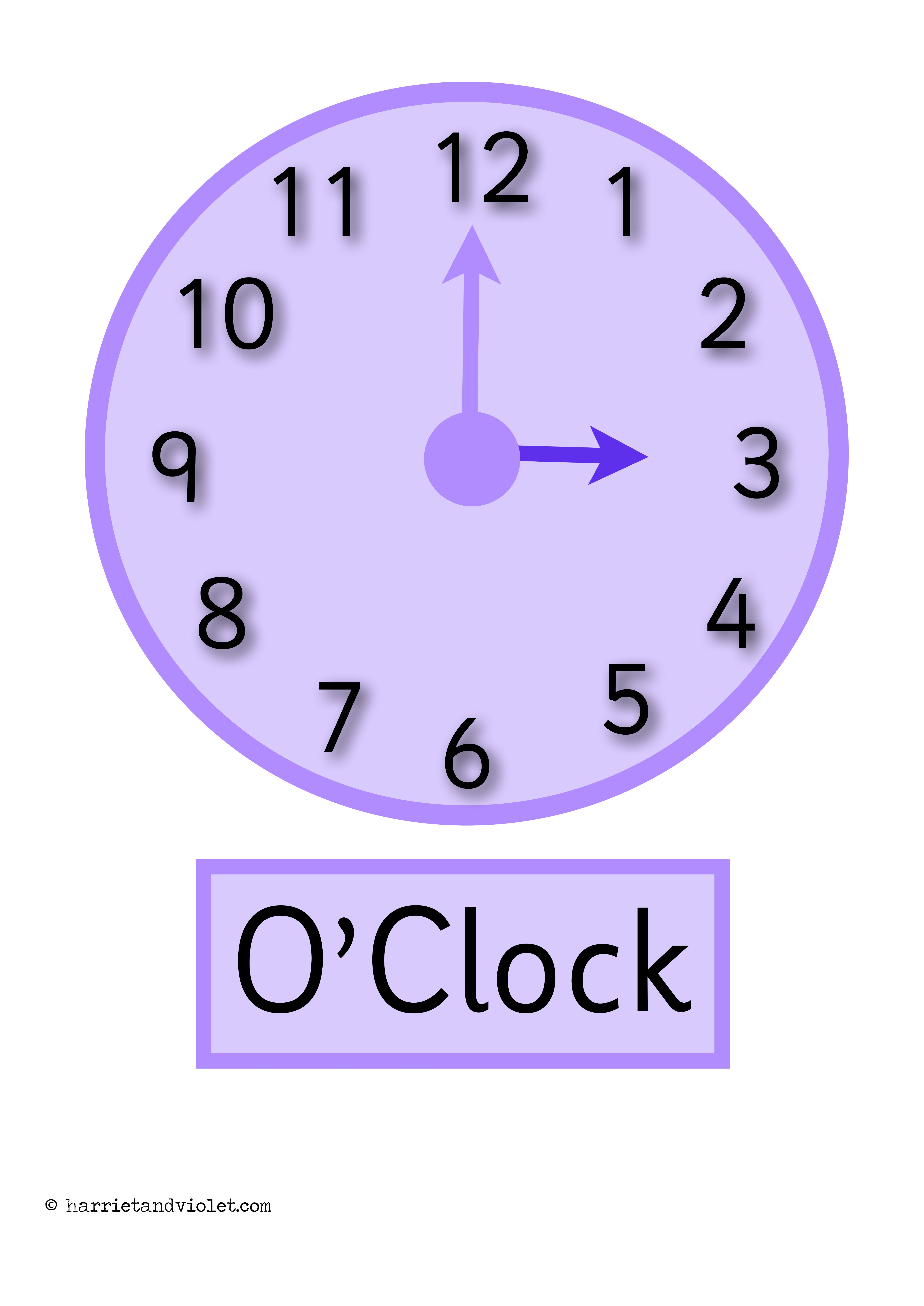 Clock Posters O 39 Clock Half Past Display Or Flashcards