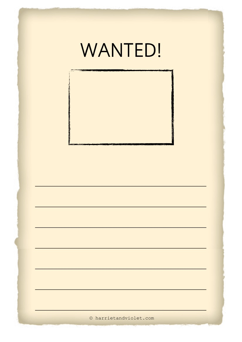 Wanted poster template free teaching resources harriet for Free wanted poster template