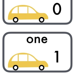 Car number line with numbers and words ~ easy to print and use on display in a playroom or classroom. I love designing the illustrations as I'm a big fan of mid-century design. I also love using a range of colours rather than sticking to primary ones.