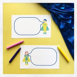 Superhero Speech Bubbles ~ a selection of superhero speech bubbles. Some with lines and some plain. Let superheroes have conversations! Only spoken words go in the speech bubble. The blue fabric here can be worn as a cape! If you're a superhero why not?
