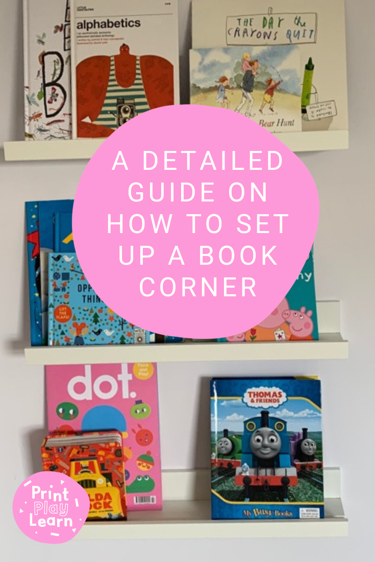 a detailed guide on how to set up a book corner at home or school with pictures of books on wall frames