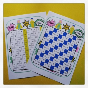 Hundred squares ~ support counting in 2s, 3s, 5s & 10s. Quick printable for the classroom or support for home learning.
