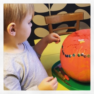Stickers  we love stickers! Especially the foam ones. It's a great fine motor activity and helps develop that pincer grip. Instead of placing stickers in a flat surface use a range of surfaces to try.