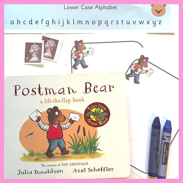 BEAR - Postman Bear  I need to send some parcels today so chose this book as a focus for the bear word. I love these stories.  I've set up an invitation to read and mark make; my son will not nesseceraly  do this but if he wants to it's there. I've included the book, a lower case alphabet chart just to have letters to look at, envelopes, paper, crayons and stamps. Try to keep activities with a purpose, so if they want to send a letter (Father Christmas soon!) then walk to the post box or post office and send it.  Swipe left to see all the #nov_playalong words. Check out the rest of these amazing accounts. Oh and remember you can follow the #nov_playalong so the ideas will pop into your feed.  #nov_playalong team: @mama.smith.to2 @entertaining_elsie @oursensorykids @mayasmoonplay @something.sensory @theconstantdaydreamer @mygirlsmake @brightbuttonschildminding @paulineandlouises @myteachermummyandme @play.with.pickles @littlemousesbookreviews @toddler_learning_through_play @acoldcupoftea @marty_messyplay_and_me @play.through.the.day @honeybeesactivities @mudpiesanddaffodils @nittynattynorah @hamsonearlyyears @about_us_and_4 @printplaylearn @mummylouwithlilyandwillowtoo  #invitationtomarkmake #earlyreading #earlymarkmaking #printplaylearn #downloads #eyfs #primaryteachers #sahm #sahd #homeschool #postmanbear