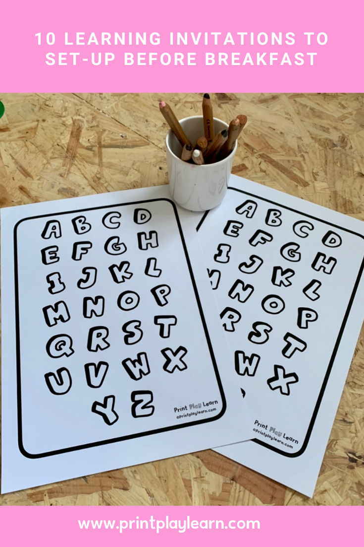 10 LEARNING INVITATIONS TO SET-UP BEFORE BREAKFAST printplaylearn