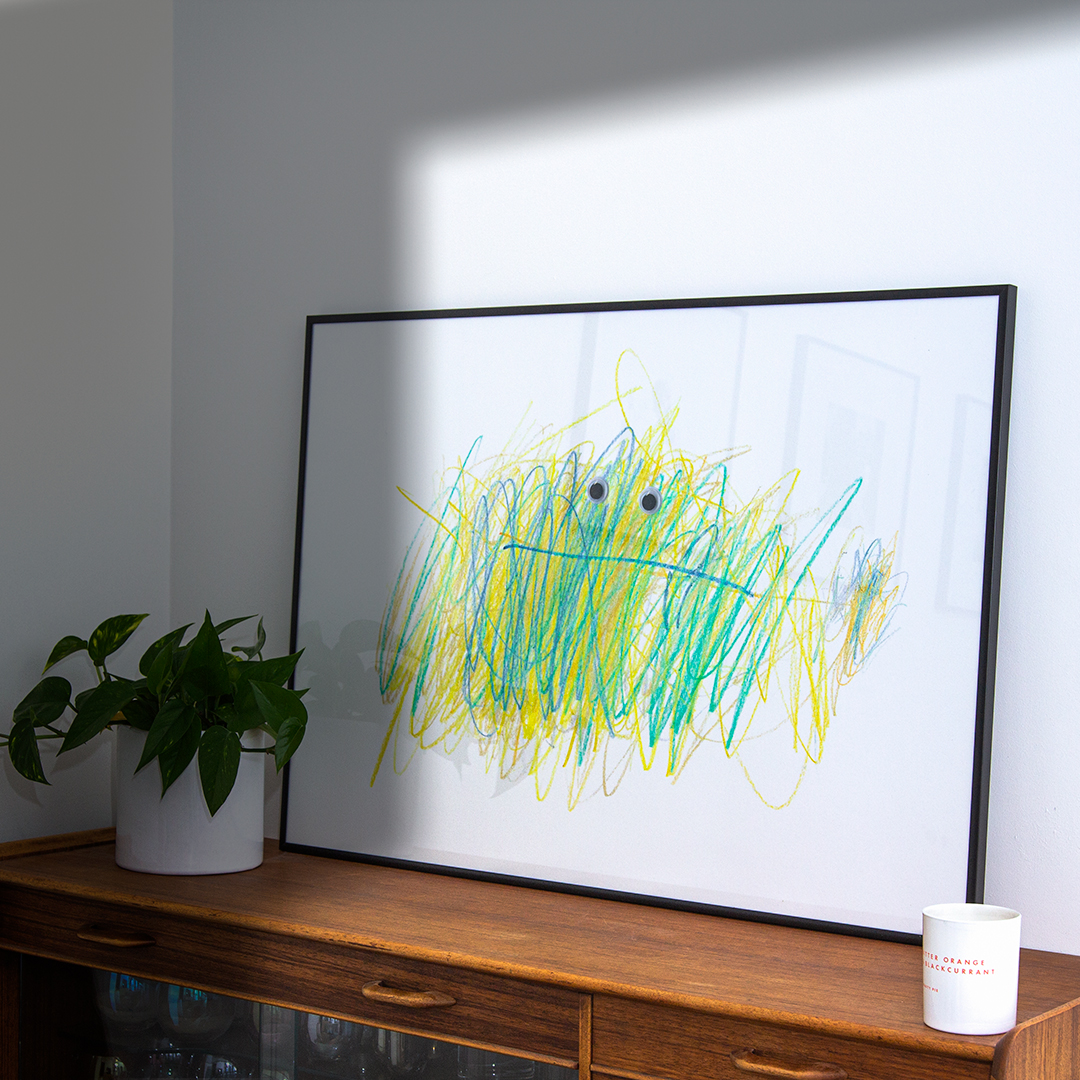 my kid made art work for your home in large frame plant on wooden sideboard printplaylearn