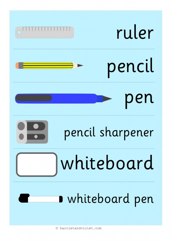 School Equipment Labels For School Role Play Free