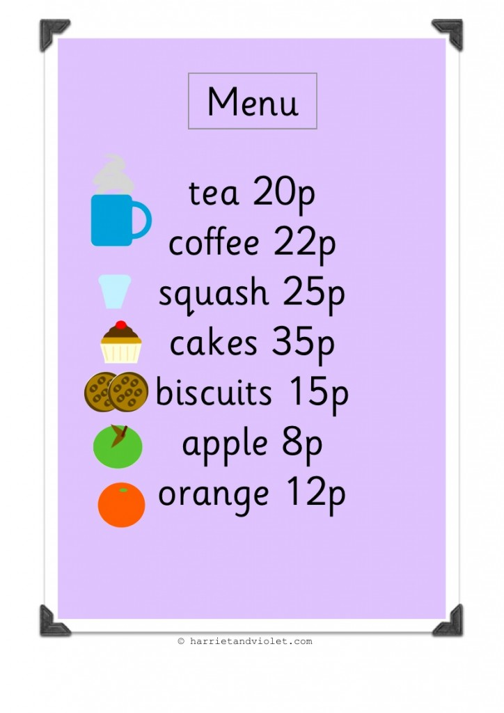 role play cafe menu for early years eyfs free teaching resources harriet violet. Black Bedroom Furniture Sets. Home Design Ideas