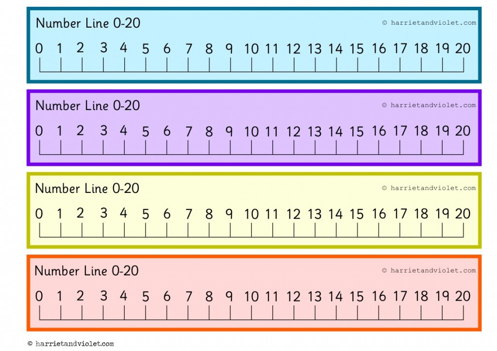 Punchy image for printable number line to 20