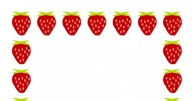 Strawberry Border A4 Portrait Plain Paper