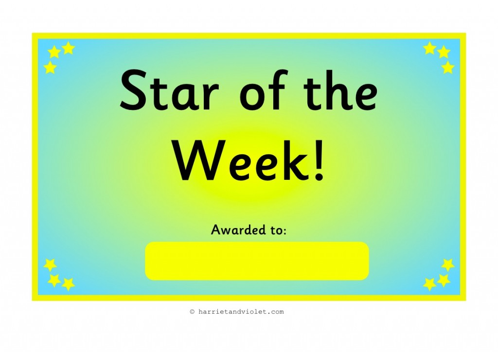 ... the Week Certificates A4 Size - Harriet & Violet - Teaching Resources