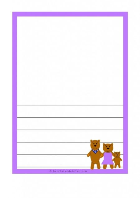 The Three Bears A4 Border Paper Portrait, Plain, Lined and Half Lined ...