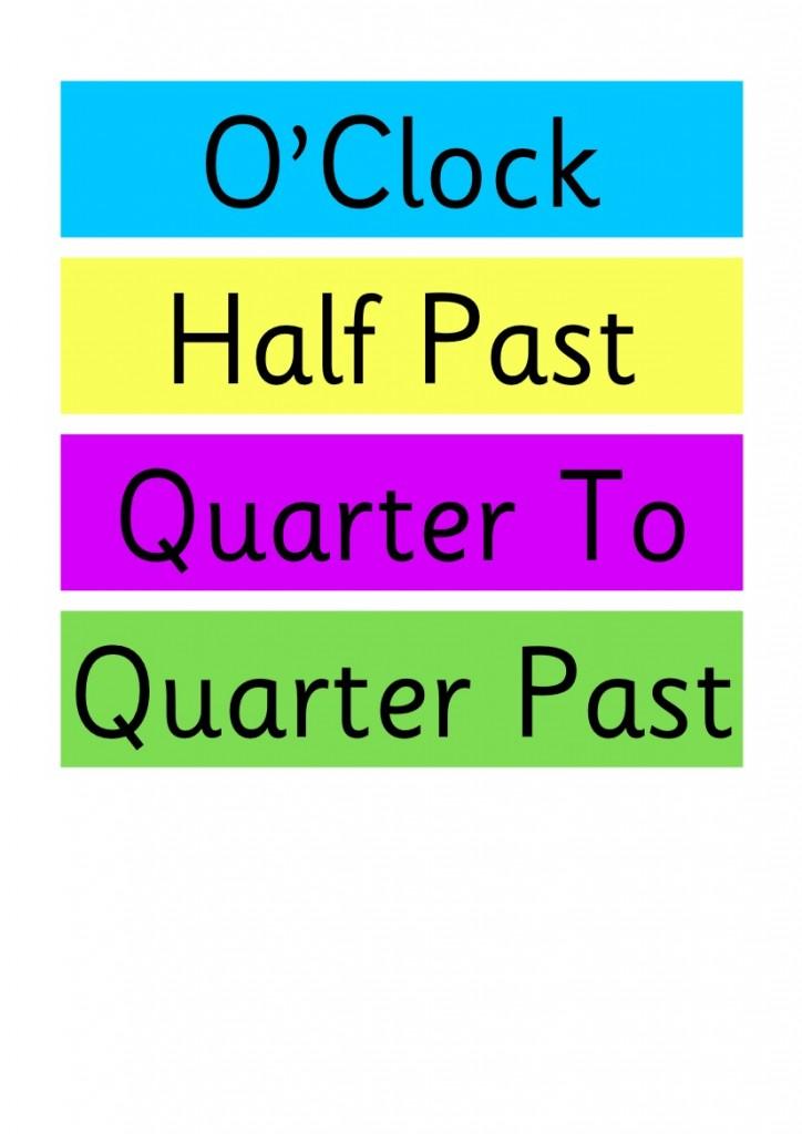 clock labels for the classroom o u0026 39 clock  half past  quarter