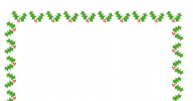 Christmas Holly Border Paper A4 Portrait Plain Half Lined and Lined