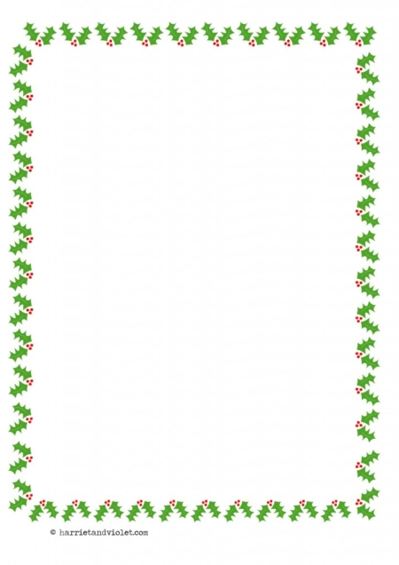 ... Christmas Holly Border Paper A4 Portrait Plain Half Lined and Lined