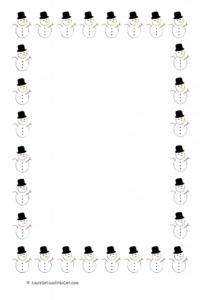 Christmas Snowman Border Paper A4 Portrait Selection H&V-1