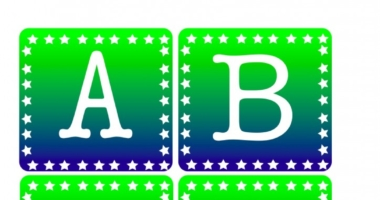 Instant Display Lettering Star Border Green and Blue