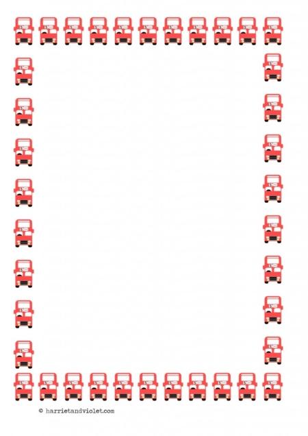 Red Bus Border Paper Transport A4 Portrait Range of Paper