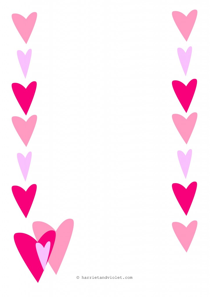 Heart Page Border A4 Portrait Paper Lined, Plain or Half Lined ...