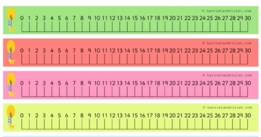 Big Ben Number Line 0-30 (number 0 to 30) with guidelines
