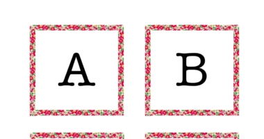 Instant display lettering A-Z Liberty Fabric Border