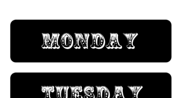 Days of the Week Circus Style