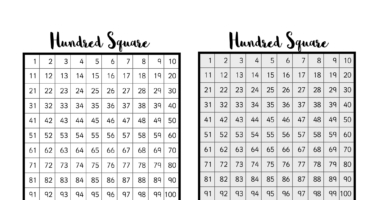 Hundred Square – grey scale