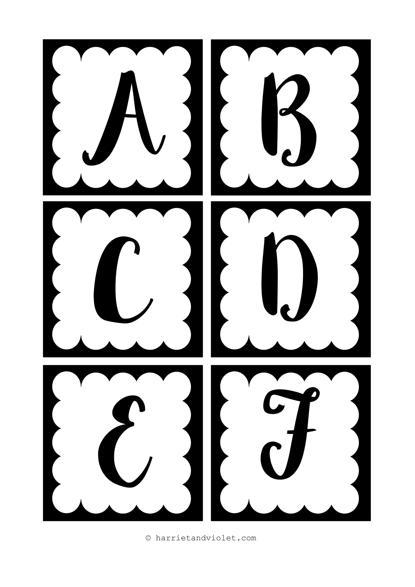 Instant Display Lettering A Z Black And White Free