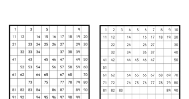 Missing Number Activity Hundred Square – differentiated