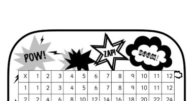 Timestable Multiplication Grid 12×12 Superhero