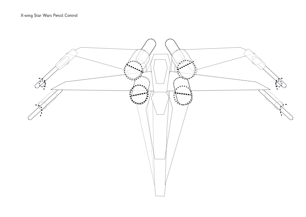 X-wing Star Wars Pencil Control Dot-to-dot