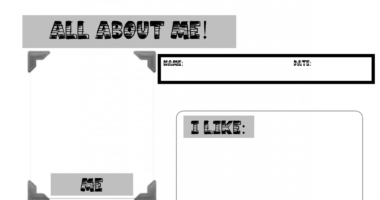 All About Me – picture & mark making template