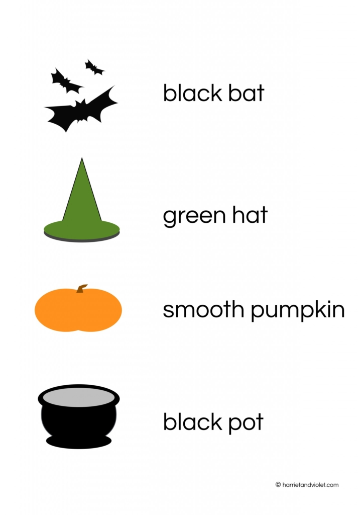 match the pictures with the words and sentences halloween