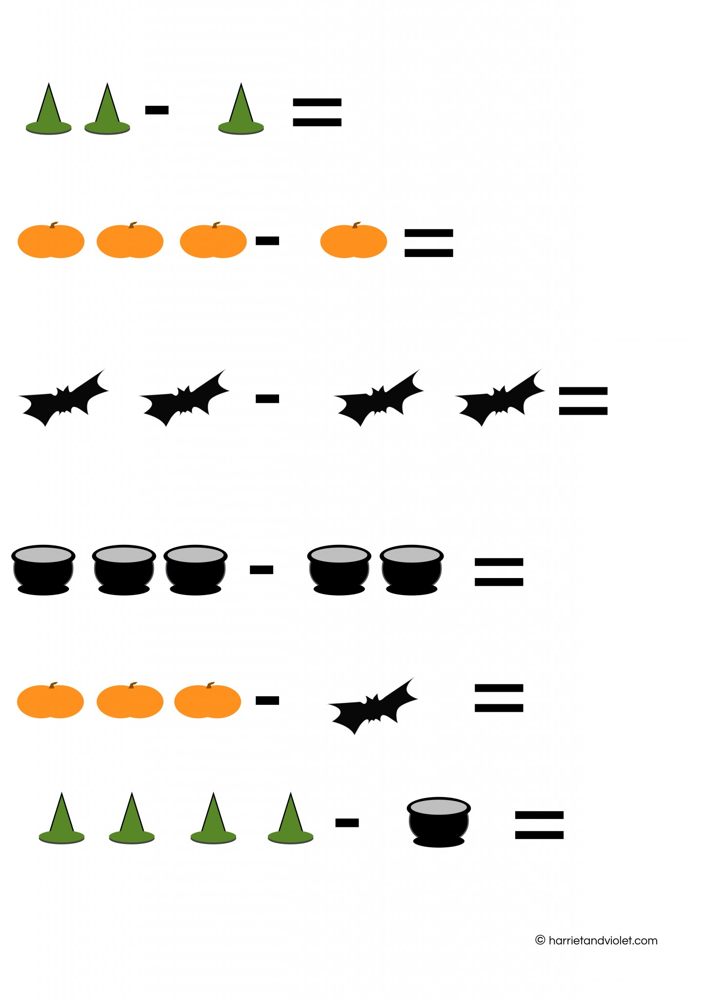 halloween counting simple subtraction number sentences