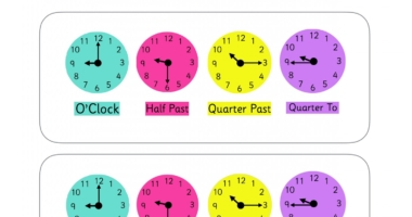 Clock Prompt Sheet – o'clock, half past, quarter past, quarter to