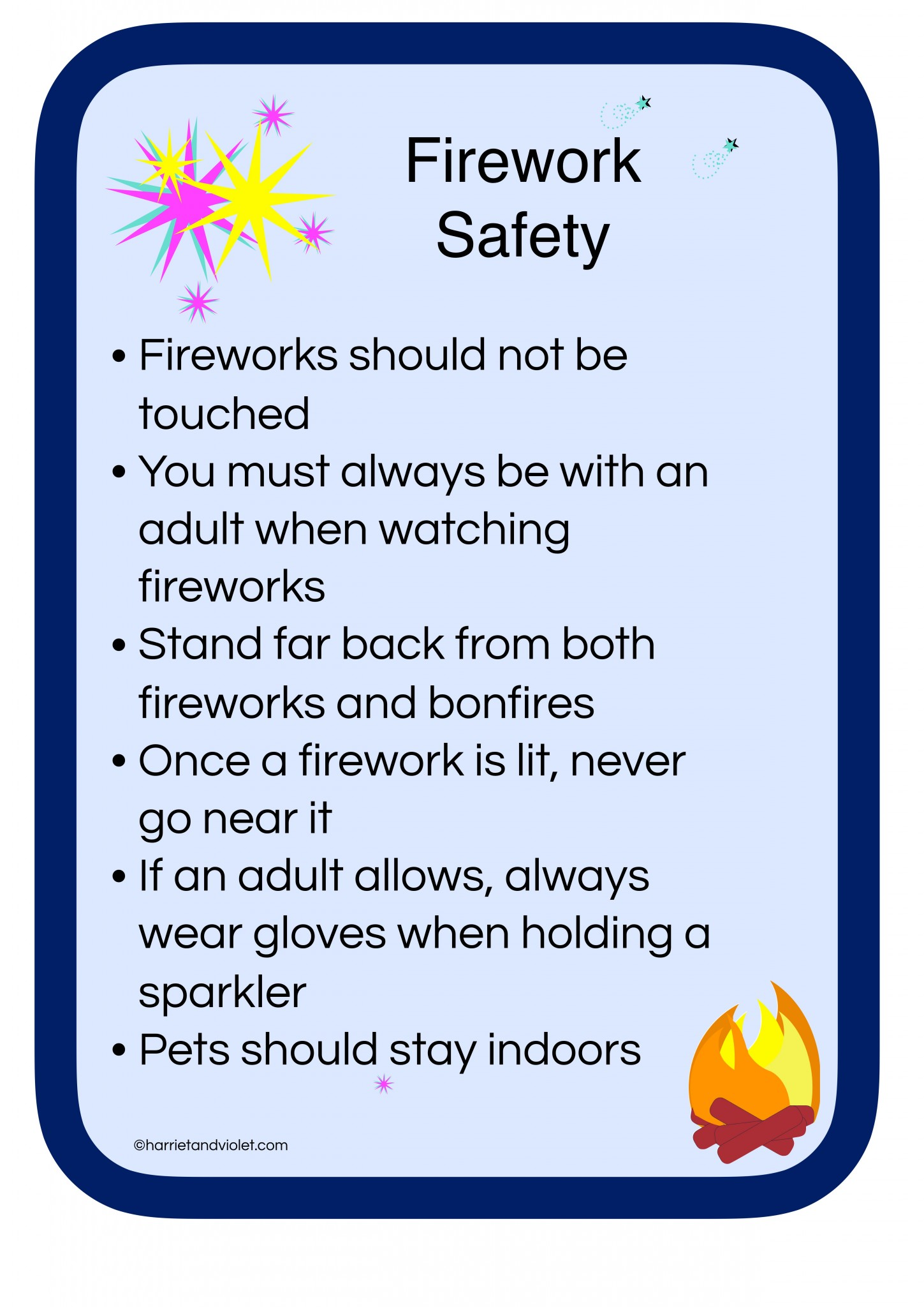 Firework Safety Poster - Free Teaching Resources - Harriet ...