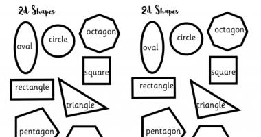 Shapes – activity for sorting, naming, matching, colouring