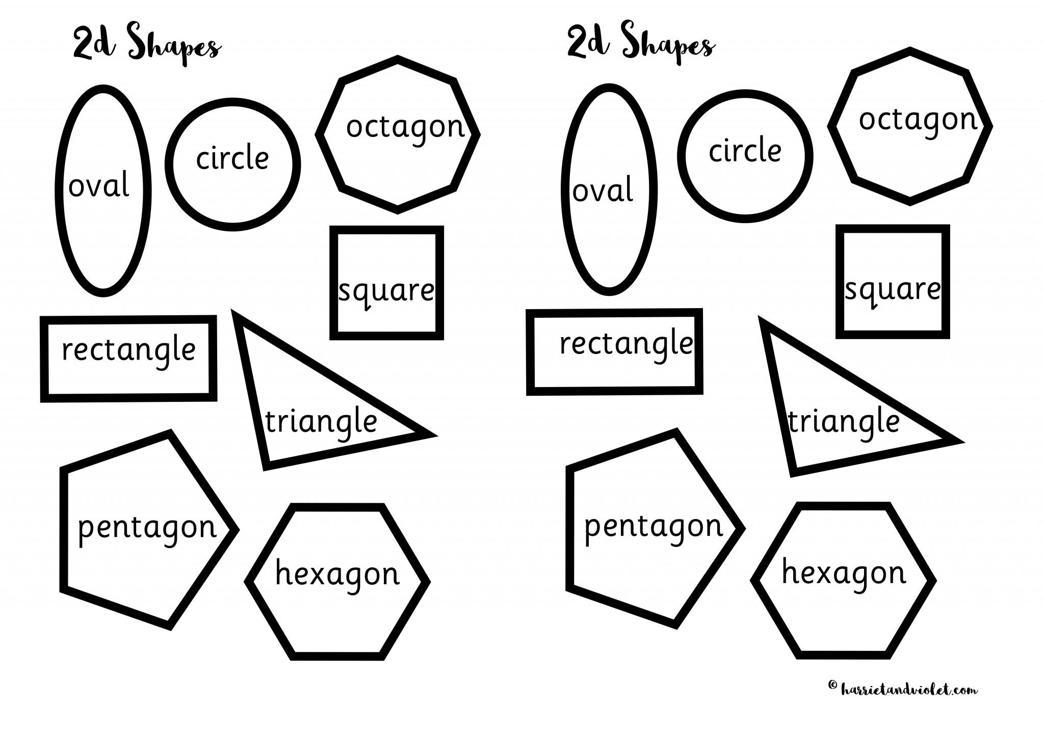 Shapes - activity for sorting, naming, matching, colouring