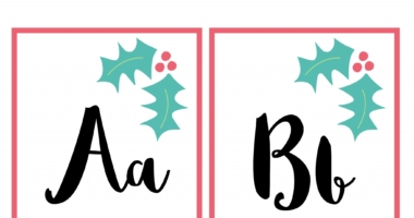 Holly Christmas alphabet upper and lower case