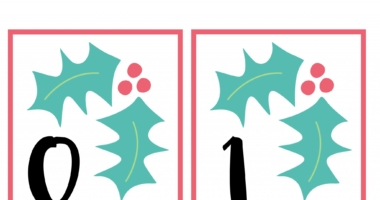 Holly Number cards 0-10 – Christmas Flashcards