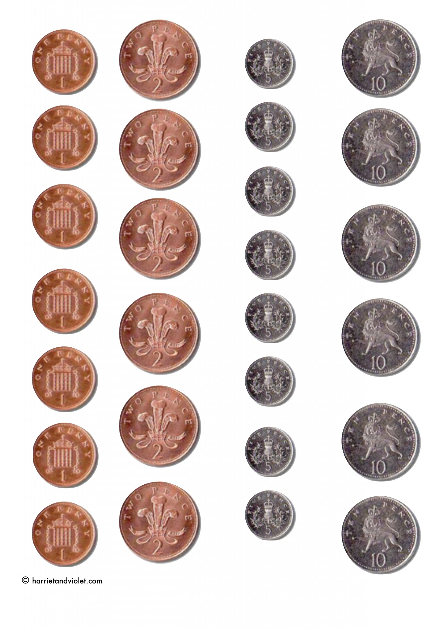 printable coins for games counting free teaching resources harriet violet. Black Bedroom Furniture Sets. Home Design Ideas