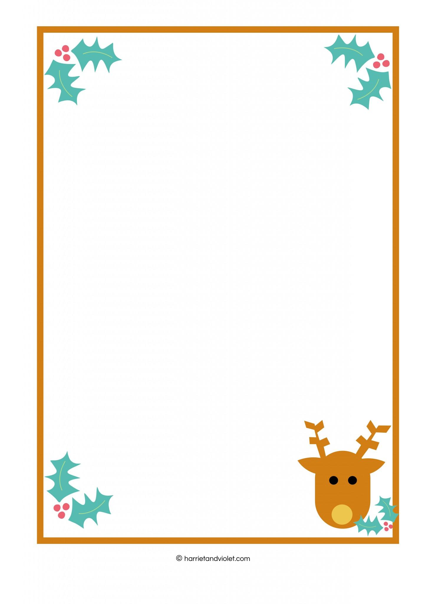 Reindeer Border Plain Lined Amp Half Lined Free Teaching