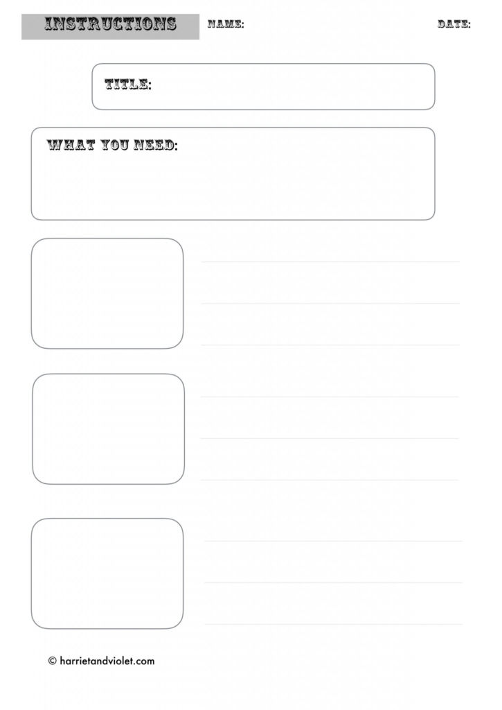 Instruction Writing Template Free Teaching Resources Print Play