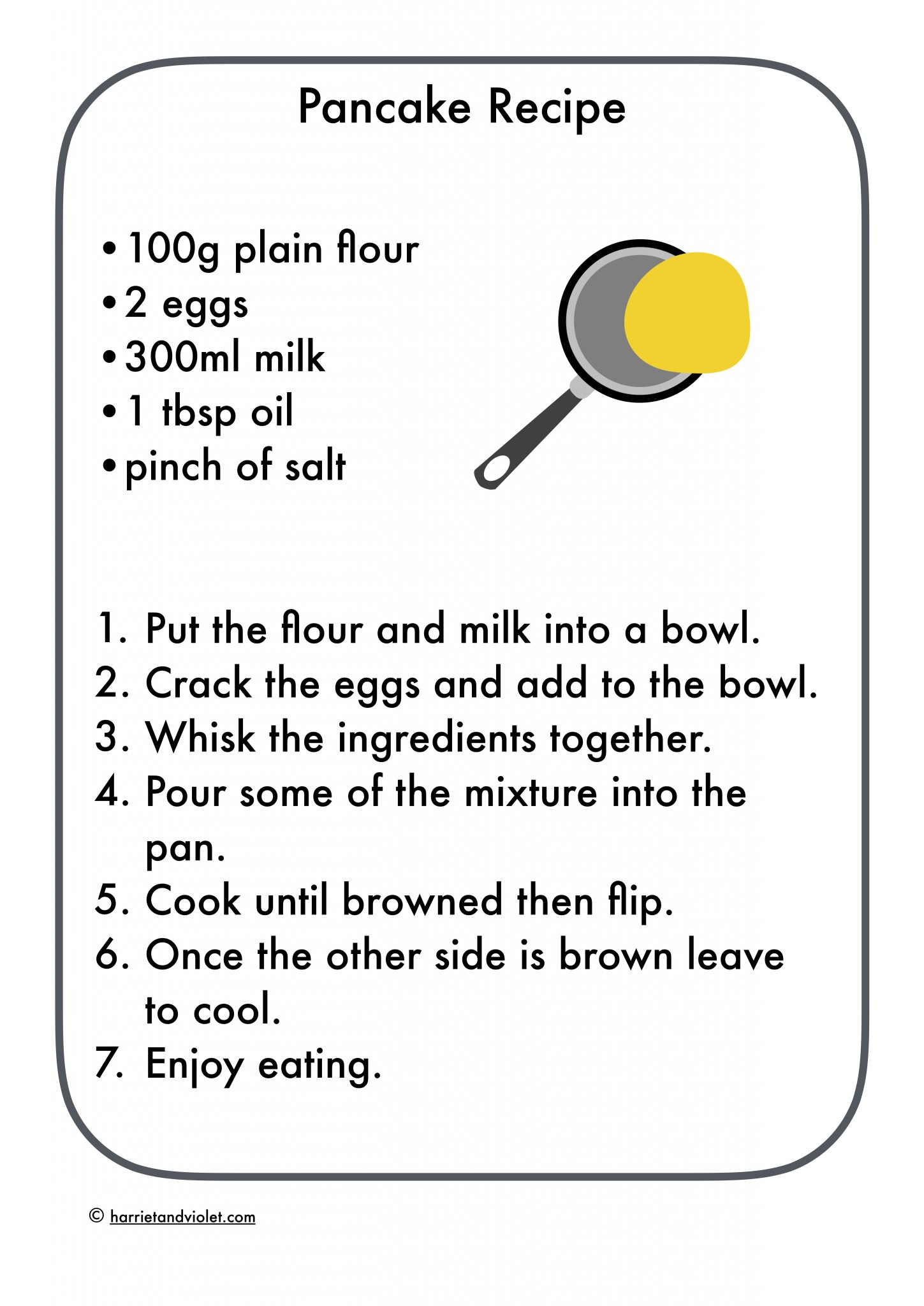 Pancake Recipe Easy To Follow Free Teaching Resources
