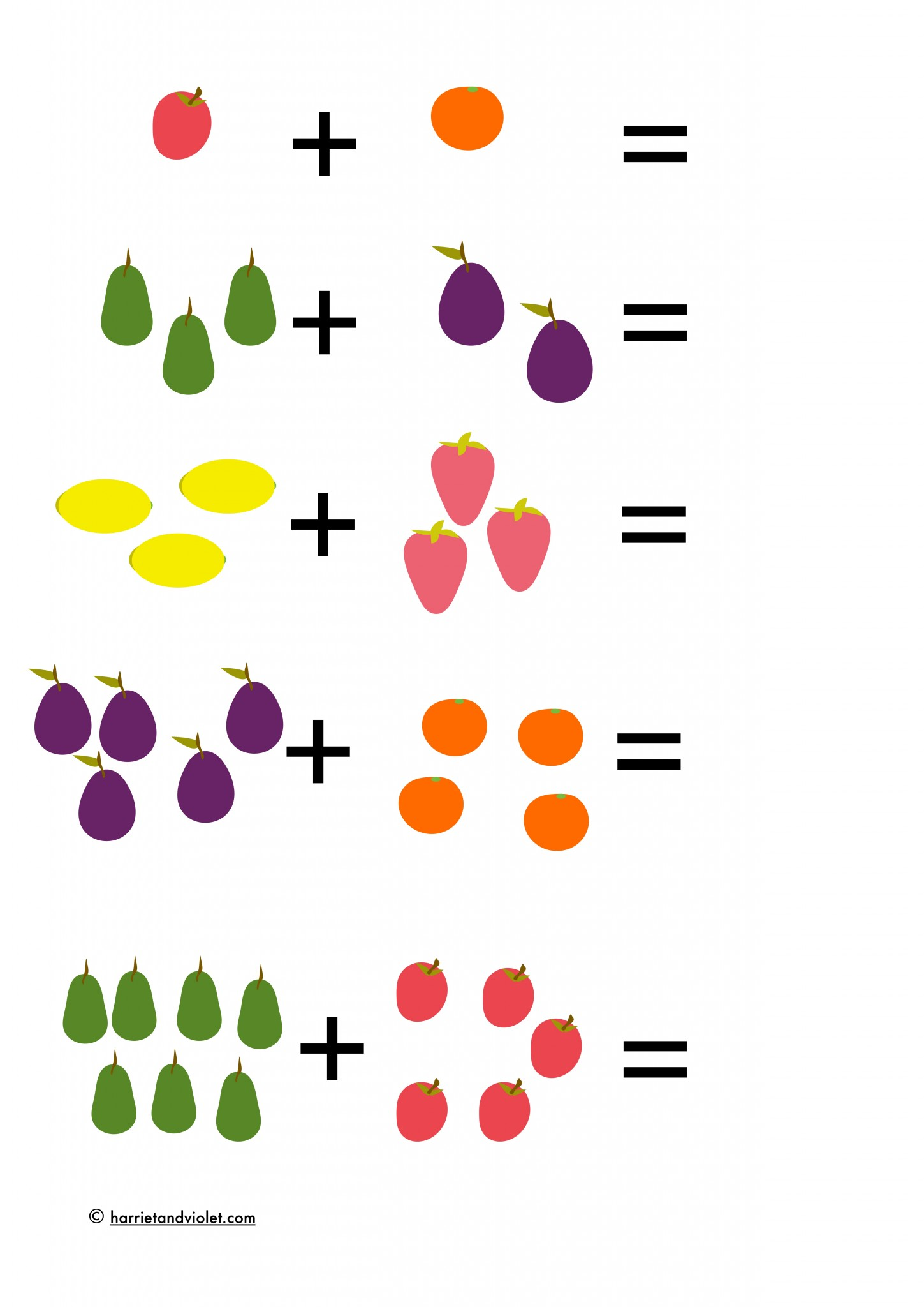 Fruits - picture number sentences within 10 - Free ...