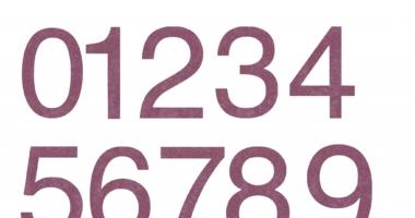 Numbers 0-9 pink glitter (valentine)