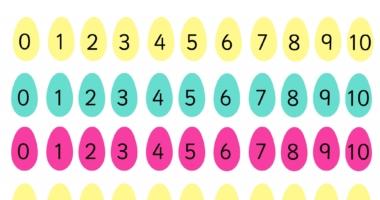 Easter Egg number line 0-10