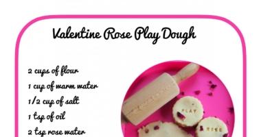 Valentine Rose Playdough – no cook recipe